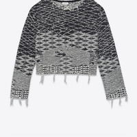 Cropped sweater in black and off-white Berber jacquard