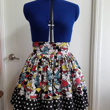Minnie - mouse  - polka - dot -Plus - size - High - waist - pinup - rockabilly - rockabella - swing - mini - circle - skirt