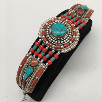 Vintage Nepalese Red Coral & Green turquoise Inlay Statement Bib Bracelet, NPB08