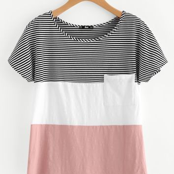 Patch Pocket Front Cut And Sew T-shirt PINK