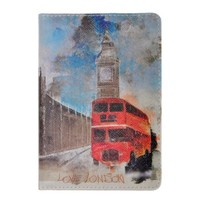 Vintage Style Watercolor London with Lone / London Bus / London Bridge Travel Passport Cover (Red)