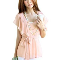 Allegra K Woman Flouncing Scoop Neck Elastic Waist Chiffon Blouse Pink XS