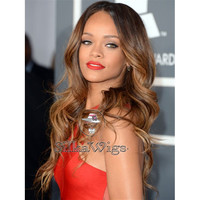 Rhianna Layerd Cut Ombre T2/#4/18 Brazilian Human Hair Full Lace Wig Glueless Cap