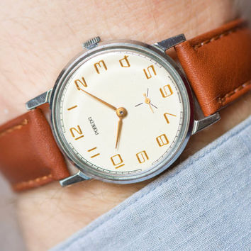 Tomboy wristwatch Pobeda Victory, minimalist Soviet men watch, boyfriend dress watch, classic watch mint condition,new premium leather strap