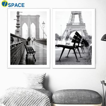 Paris Landscape Wall Art Print Canvas Painting Nordic Posters And Prints Black White Pop Art Wall Pictures For Living Room Decor