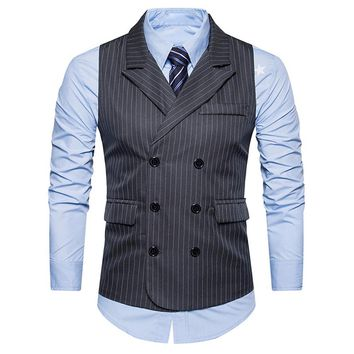 Men Formal Tweed Double Breasted Waistcoat Slim Fit Suit Jacket winter Autumn jacket for men