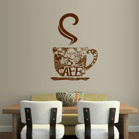Wall Vinyl Sticker Decals Decor Art Kitchen Design Mural Pattern Coffee Curly Cup Hot (z2585)