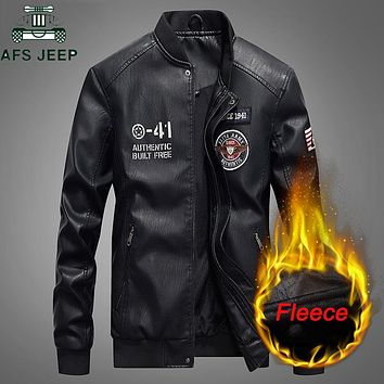 AFS JEEP Autumn Winter Embroidery Leather Jacket Men Thick Fleece PU leather Coat Stand Collar Baseball Jacket Men Plus Size 4XL