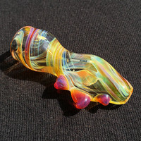 Small Colorchanging Chillum Pipe with Horns