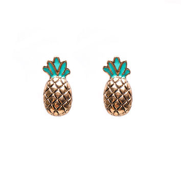 Bronze Pineapple Stud Earrings