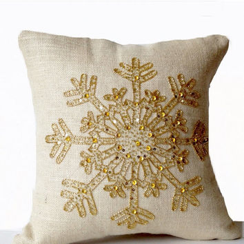 SALE Ivory Burlap Pillows -Christmas Pillow -Snowflake -Cream Throw Pillow Cover -Christmas Cushion -Gold Sequin Snow Pillow -18x18 -Bedding