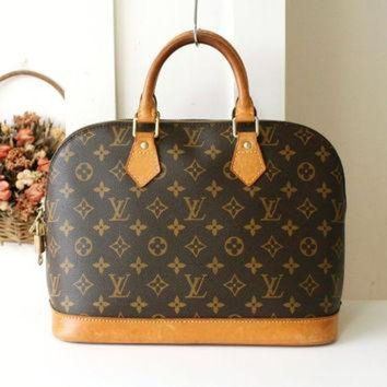 PEAPYD9 Louis Vuitton Bag Alma Monogram Brown USA Authentic Vintage Tote Handbag