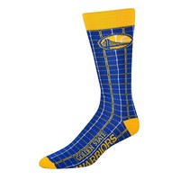For Bare Feet Golden State Warriors Plaid Crew Socks - Adult (War Team)
