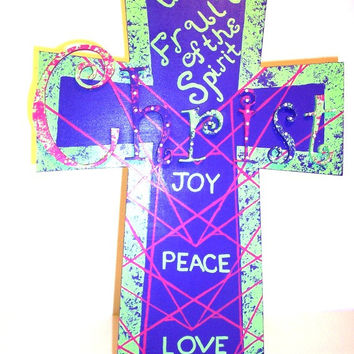 Fruit of the Spirit  - Christian Cross - Decorative Cross - Wood wall cross -  Wooden Cross - Painted Green, Pink, and Purple w/Heart Design