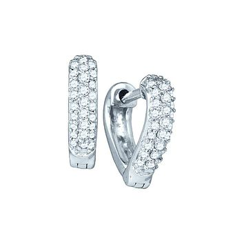 10kt White Gold Womens Round Pave-set Diamond Heart Huggie Hoop Earrings 1/5 Cttw