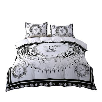 Sun God 3pcs Bedding Set Moon Black and White Bed Cover
