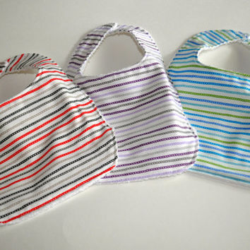 3 Baby bibs,  Unisex Bibs, Terry cloth backed baby bibs, set of 3 bibs in gender neutral prints, unisex baby bibs, Baby Shower gifts