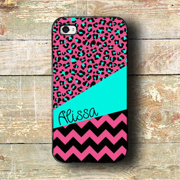 Iphone 5c case, for iPhone 4/4s/5/5s/5c, chevron iPhone 4 case, iPhone monogram - Cheetah and chevron print with hot pink and aqua (9879)