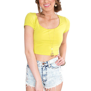 Lucy Basic Crop Top - Lime Green