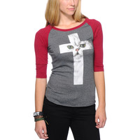 A-Lab Girls Cat Cross Charcoal & Red Baseball Tee Shirt at Zumiez : PDP