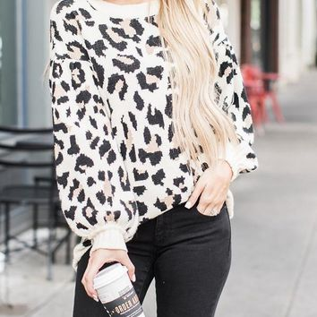 New Khaki Leopard Print Oversize Long Sleeve Casual Fashion Slouchy Pullover Sweaters