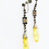 Art Deco Yellow Glass and Rhinestone Hanging Earrings-Vintage, Bridal, Wedding, Prom , Pageant