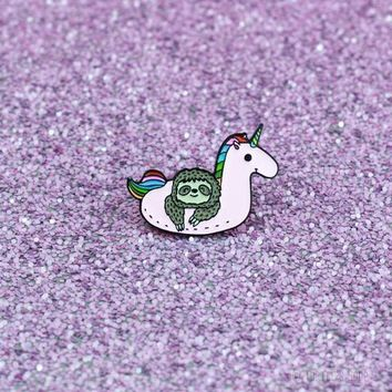 """Sloth Unicorn"" Enamel Pin"