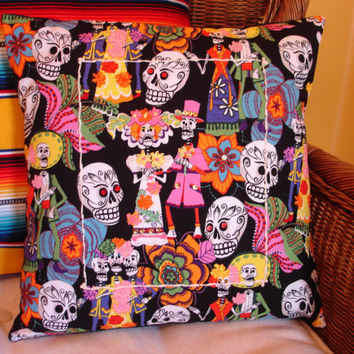 Day of the Dead Pillow Cover, Los Novios Pillow Cover, Skulls Pillow, Dia de los Muertos, Embroidered Pillow Cover
