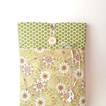 MacBook Air 13 Sleeve, MacBook Air 13 Case, MacBook Air Cover, 13 .3 inch Mac Book Air Laptop Pouch, Green Floral Laptop Bag Dots Daisy Sac
