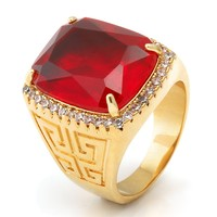 14K Gold Ruby Crown Julz Ring | Hip Hop Rings | King Ice