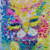 ORIGINAL Painting Oil On Canvas Impressionist Pink Cat Painting Spring Fine Art By Ekaterina Chernova - Size: 35 x 46 cm