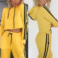 Two Piece Set Women Crop Top Hoodie & Pants Suits