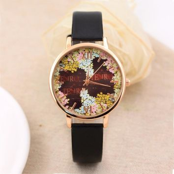 Elegant Quartz Watch Women Girls Fashion Casual Quartz-Watch PU Leather Watch Clock Woman Relojes Mujer Montre Femme 2017 #824