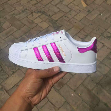 """Adidas"" Fashion Reflective Shell-toe Flats Sneakers Sport Shoes Laser Purple"