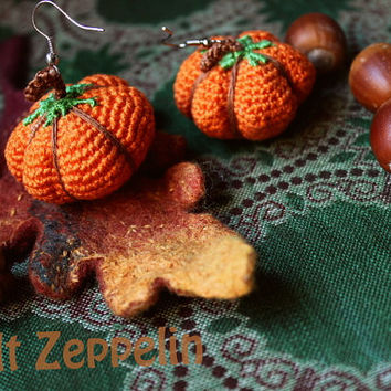 Crocheted Pumpkin Earrings, Halloween, Samhain, Crochet Handmade Jewerly, Halloween Decorations