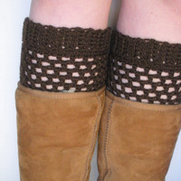 Wool Crochet Boot Cuffs in Dark Chocolate Brown, ready to ship.