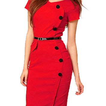 Fashion Short Sleeve Buttons Midi Professional Bodycon Dress with Belt