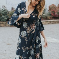 In The Moment Floral Dress, Navy