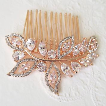 Rose Gold Wedding Crystal Leaf Hair Comb Romantic Occasions Adornment