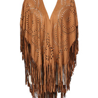 Brown Suedette Laser Cut Asymmetric Fringed Cape