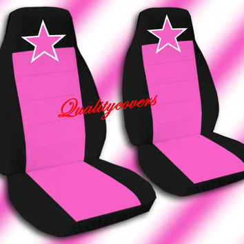 2 Front Black and Hot Pink Seat Covers with a Pink Star