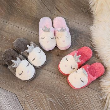 Women Plush Cotton slippers Cute Cartoon Harmonious family slippers Floor Soft Slippers Female Warm Bedroom Shoes Plus Size #40