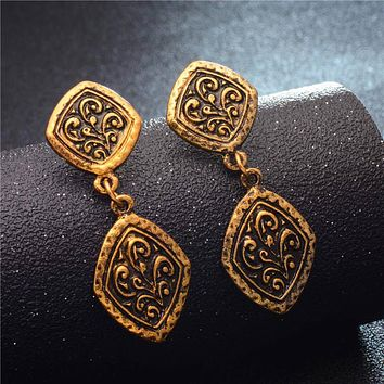 QCOOLJLY New Ancient Style Brass Gold Tone Ornate Swirl Hoop Gypsy Indian Tribal Ethnic Earrings Boho Dangle Earrings Jewelry