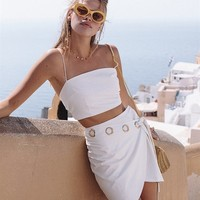 Gold Eyelet Wrap Skirt - Bottoms by Sabo Luxe