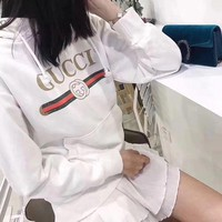DCCK6HW Gucci' Women Casual Classic Logo Letter Print Long Sleeve Hooded Sweater Tops
