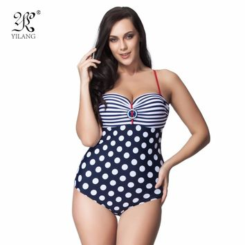 High Quality Striped Polka Dot Patchwork One Piece Swimsuit Plus Size Swimwear Retro Slimming Bodysuit Beachwear