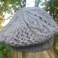 Outlander inspired slouch beret tam with cable and lace hand knit in soft grey alpaca wool tweed blend ready to ship