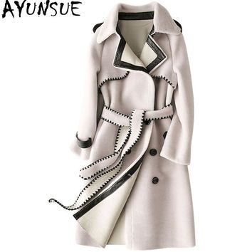 AYUNSUE 2018 Winter Women's Fur Coat Natural Sheep Shearling Coats Long Warm Real Wool Jackets For Women Outerwear PU Lining1170