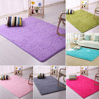 Plush Shaggy Soft Carpet Room Area Rug Bedroom Slip Resistant Door Floor Mat