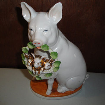 Vintage Ceramic Pig Figurine Blue Eyes Piglets in a Basket Shamrocks Germany Ges Gesch